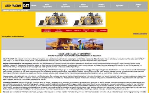 Screenshot of Privacy Page kellytractor.com - Kelly Tractor Co. Privacy Statement - captured Sept. 25, 2014
