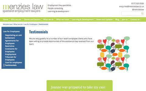 Screenshot of Testimonials Page menzieslaw.co.uk - Testimonials - Menzies Law - captured June 10, 2017
