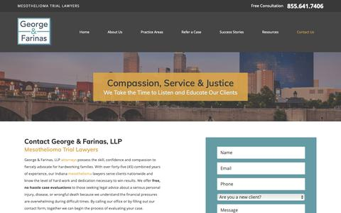 Screenshot of Contact Page georgeandfarinas.com - Contact Us | Indiana Lawyers - captured Sept. 27, 2018