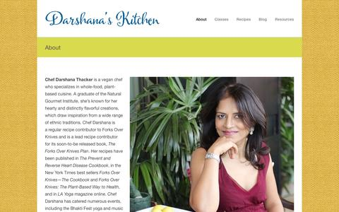 Screenshot of About Page darshanaskitchen.com - Darshana's Kitchen – A source for healthy vegan cooking About - Darshana's Kitchen – A source for healthy vegan cooking - captured Oct. 7, 2014