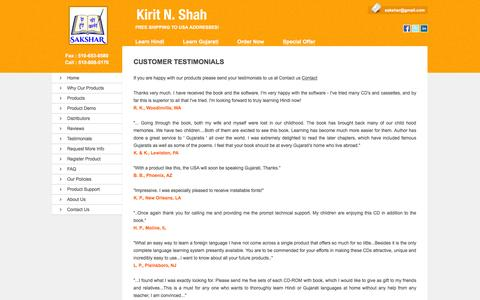 Screenshot of Testimonials Page sakshar.com - Learn Hindi Language with English   Gujarati with English Subtitles   Gujarati with English Translation - captured March 8, 2016