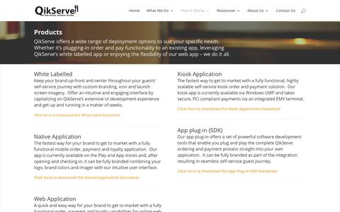 Screenshot of Products Page qikserve.com - QikServe offers a wide range of deployment options to suit specific needs - captured July 31, 2017