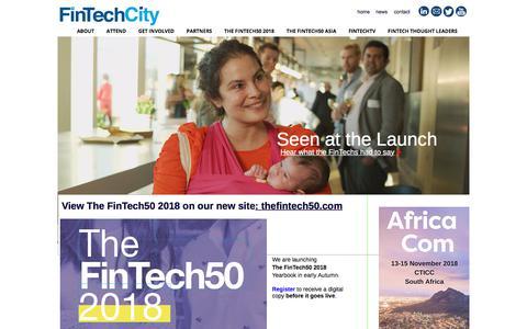 Screenshot of Home Page fintechcity.com - FinTechCity | Home to The FinTech50 | The 50 Hottest FinTechs in Europe - captured Aug. 11, 2018