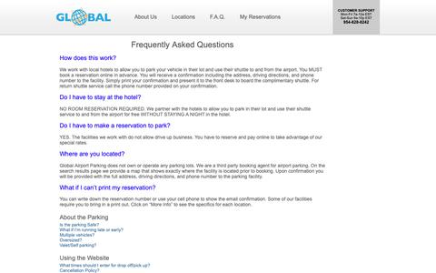 Screenshot of FAQ Page globalairportparking.com - Global Airport Parking - Frequently Asked Questions - captured Dec. 8, 2018