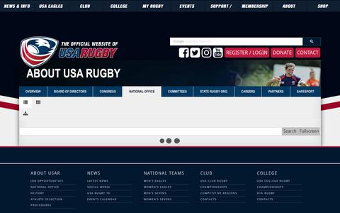 Screenshot of Contact Page usarugby.org - USA Rugby National Office Staff Directory - captured March 6, 2019