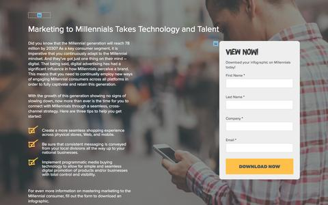 Screenshot of Landing Page centro.net - Marketing to Millennials Takes Technology and Talent | Centro - captured Feb. 16, 2016
