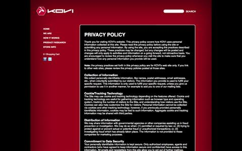 Screenshot of Privacy Page teamkovi.com - PRIVACY POLICY - captured Oct. 6, 2014
