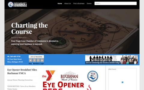 Screenshot of Home Page nilesmi.com - Four Flags Area Chamber of Commerce - Niles, Michigan - captured Feb. 10, 2016