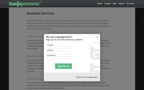 Screenshot of Services Page ganjapreneur.com - Business Services | Ganjapreneur.com - captured Oct. 22, 2014