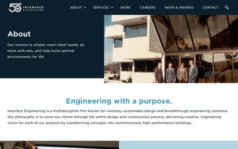 Screenshot of About Page interfaceengineering.com - About | Interface Engineering - captured Oct. 7, 2019