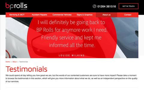 Screenshot of Testimonials Page bprolls.co.uk - Testimonials - BP Rolls (Andover & Newport) - captured Nov. 13, 2018