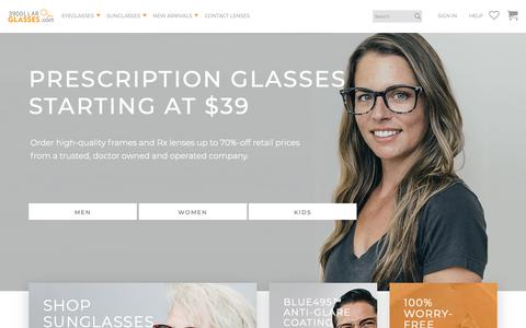 Screenshot of Home Page 39dollarglasses.com - Buy Glasses Online - Save 70% Off Retail Prices   Stylish Rx Eyewear - captured Nov. 13, 2018