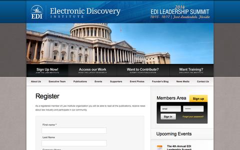 Screenshot of Signup Page ediscoveryinstitute.org captured Oct. 2, 2014