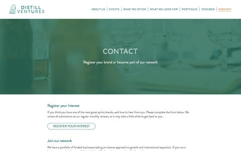 Screenshot of Contact Page distillventures.com - Contact Distill Ventures - Spirits Business Investment - captured June 4, 2017