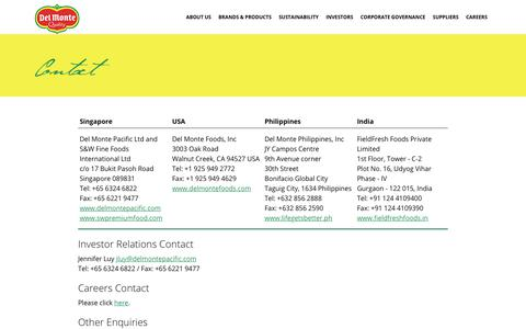 Screenshot of Contact Page delmontepacific.com - Contact - captured Oct. 12, 2017
