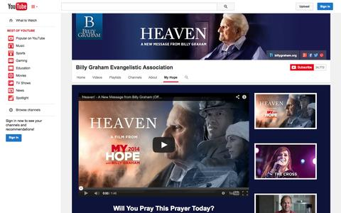 Screenshot of YouTube Page youtube.com - Billy Graham Evangelistic Association  - YouTube - captured Oct. 23, 2014
