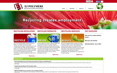Screenshot of Home Page ejpolymers.com - Recycling & Waste Management in Malawi - EJ Polymers - captured Sept. 26, 2014