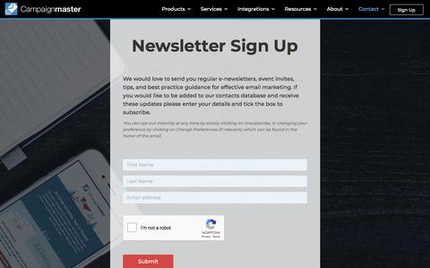 Screenshot of Signup Page campaignmaster.co.uk - Newsletter Sign Up - Campaignmaster - Your Easy Solution to Email Marketing - captured Sept. 22, 2018