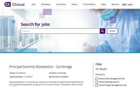 Screenshot of Jobs Page ckclinical.co.uk - Search for Jobs here - find the right one for you | CK Clinical - captured May 12, 2017