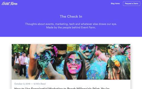 Screenshot of Blog eventfarm.com - Home   The Check In - captured Oct. 27, 2018