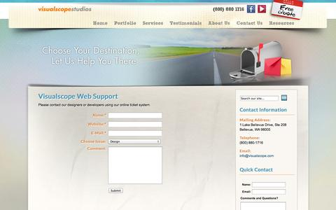 Screenshot of Support Page visualscope.com - Visualscope | Web Site Support - captured Sept. 25, 2014