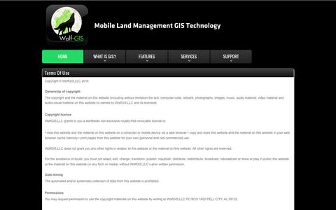 Screenshot of Terms Page wolfgis.com - WolfGIS - Mobile Land Management GIS Technology - captured Feb. 21, 2016