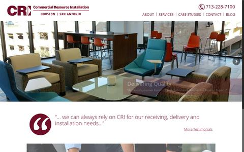 Screenshot of Home Page commercialresourceinstallation.com - Commercial Resource Installation | Houston, TX – Commercial Resource Installation I Houston, TX – Texas's Elite Commercial Interior Installation Team - captured July 20, 2018