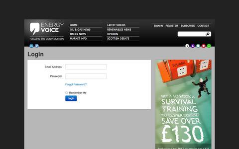 Screenshot of Login Page energyvoice.com captured Sept. 19, 2014