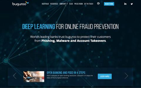 Screenshot of Home Page buguroo.com - Deep learning for online fraud prevention - captured June 1, 2019