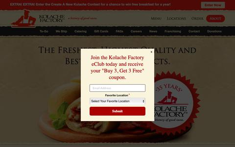 Screenshot of About Page kolachefactory.com - Kolache Factory: A History of Good Taste - About Us - captured June 4, 2019