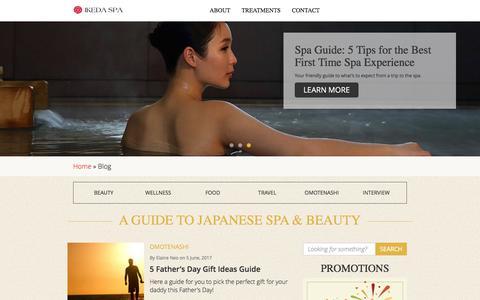 Screenshot of Blog ikedaspa.com - Spa Blog | A Guide to Japanese Spa & Beauty | Ikeda Spa Singapore - captured June 7, 2017
