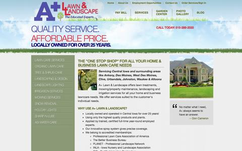 """Screenshot of Services Page apluslawn.com - A Plus Lawn & Landscape - The """"One Stop Shop"""" for All Your Home & Business Lawn Care Needs - Lawn Care Des Moines, Landscaping Urbandale, Landscaping Design Clive, Irrigation Installation Johnston, Irrigation System Repair Des Moines, Tree & Scrub Ca - captured Nov. 17, 2016"""