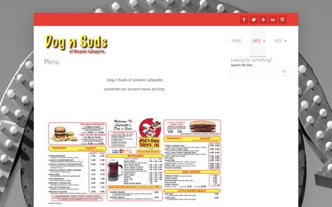 Screenshot of Menu Page ourdognsuds.com - Dog n Suds Current Menu  | Dog n Suds - captured Nov. 24, 2016