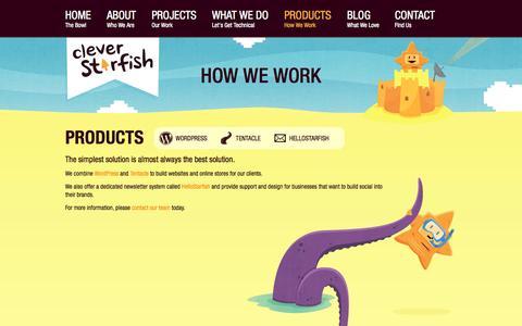 Screenshot of Products Page cleverstarfish.com - Clever Starfish design award-winning WordPress web sites - captured Sept. 30, 2014