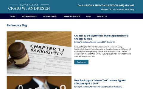Screenshot of Blog andresenlaw.com - Bankruptcy Blog – Andresen Law - captured Oct. 8, 2017