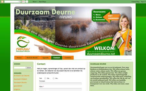 Screenshot of Contact Page duurzaamdeurne.net - Duurzaam Deurne nieuws: Contact - captured Oct. 5, 2014