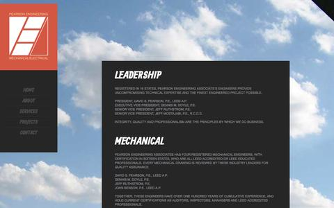 Screenshot of Services Page peaeng.com - Pearson Engineering Associates, Phoenix Arizona - captured Oct. 2, 2014