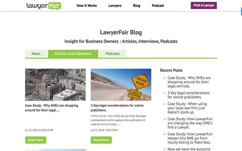 Screenshot of Blog lawyerfair.co.uk - Insight for Business Owners : Articles, Interviews, Podcasts - captured July 12, 2016
