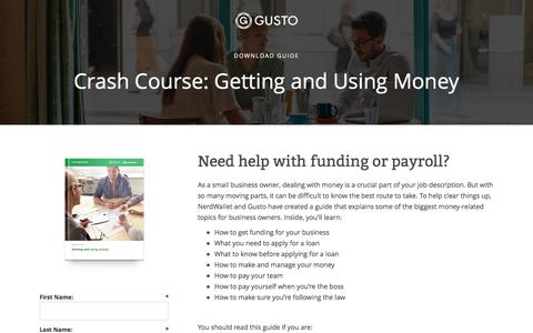 Screenshot of Landing Page gusto.com - The Small Business Owner's Essential Guide to Getting & Using Money - captured Oct. 2, 2016