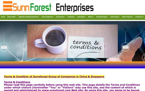 Screenshot of Terms Page sunnforest.com - Sunnforest Enterprises Terms and Condition - captured Oct. 19, 2018