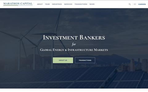 Screenshot of Home Page marathon-cap.com - Energy Project Financing & Renewable Energy Investment Banking Experts - captured Oct. 16, 2018