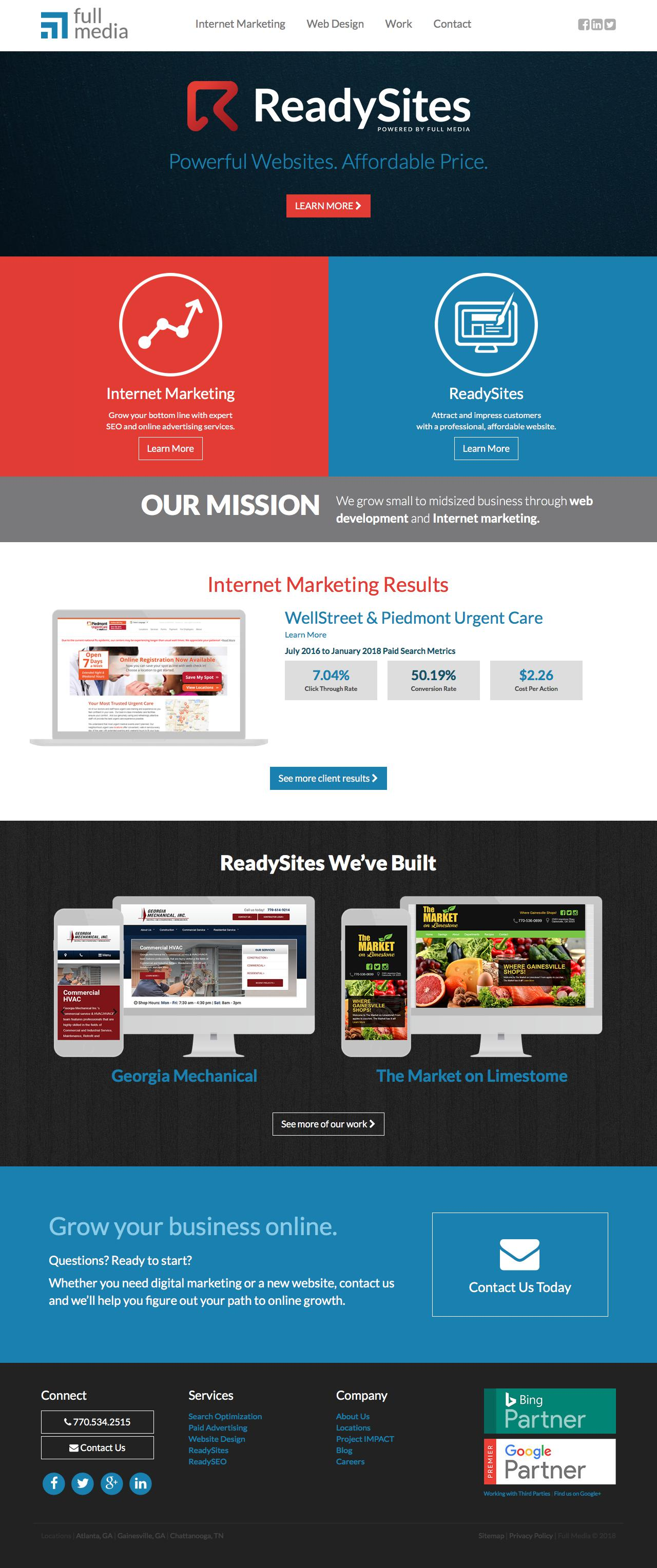 Screenshot of fullmedia.com - Internet Marketing & Web Design Company | Full Media - captured March 5, 2018