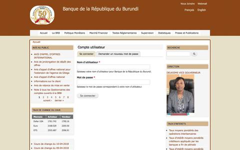 Screenshot of Login Page brb.bi - Compte utilisateur | Banque de la République du Burundi - captured April 10, 2018