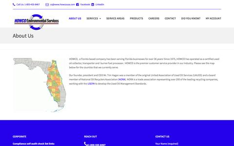 Screenshot of About Page howcousa.com - About Us – HOWCO Envrionmental Services - captured Oct. 12, 2016