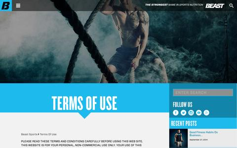Screenshot of Terms Page beastsports.com - Terms Of Use - Beast Sports - captured Oct. 5, 2014