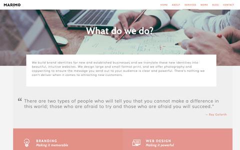 Screenshot of Services Page marimo.media - Our Services | Marimo Media | Branding & Web Design - captured Dec. 5, 2018