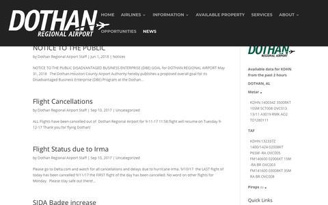 Screenshot of Press Page flydothan.com - News - Fly Dothan - captured Nov. 14, 2018