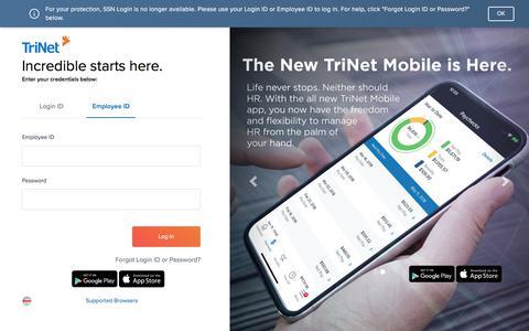 Screenshot of Login Page trinet.com - TriNet Platform - captured Jan. 26, 2020