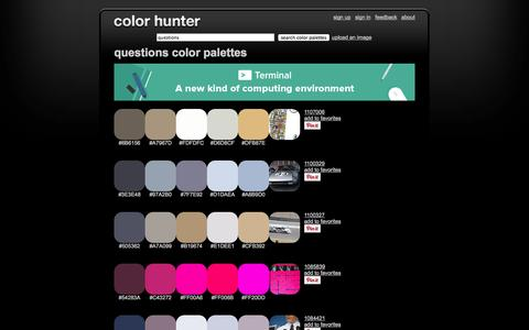 Screenshot of FAQ Page colorhunter.com - Questions Color Palettes - captured Oct. 31, 2014
