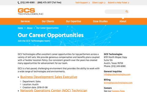 Screenshot of Jobs Page gcsaustin.com - Our Career Opportunities | GCS Technologies, Inc. - captured Sept. 25, 2018